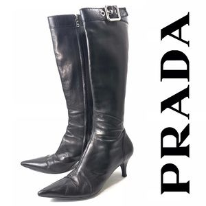 Prada Black Leather Low Heel Knee Boots, 10